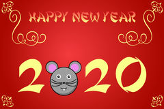 Happy chinese new year card illustration for 2020. The year of the rat vector illustration