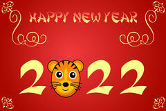 Happy chinese new year card illustration for 2022. The year of the tiger vector illustration
