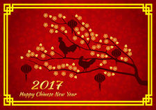 Happy Chinese new year 2017 card is  lanterns and Chicken crow on gold tree flower Royalty Free Stock Photos