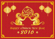 Happy Chinese new year 2016 card is  lanterns , 2 Gold monkey holding peach Stock Photo