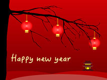 Happy chinese new year card with lanterns. Happy chinese new year card illustration with lanterns hanging from a tree Stock Photography