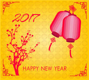 Happy Chinese new year 2017 card is   lanterns, plum blossom Royalty Free Stock Image