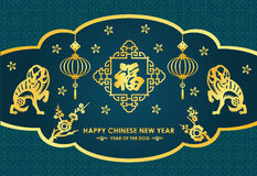 Happy Chinese new year card is  lanterns , twin Gold dog and  Chinese word mean blessing vector design Royalty Free Stock Image