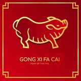 Happy chinese new year 2019 card with 2019 line Gold pig zodiac sign and GONG XI FA CAI Wishing you prosperity in the new year o vector illustration