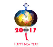 Happy Chinese new year 2017 card is polygon  lanterns, plum blossom Royalty Free Stock Photos