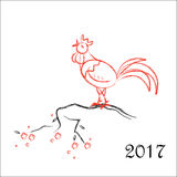 Happy Chinese new year 2017 card with Rooster on tree branch. Red and black palette Stock Image
