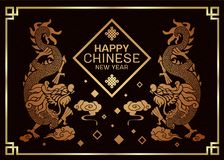 Happy Chinese new year card with Twins china dragon celebrates sign on clouds warm light tone on dark background and gold frame Royalty Free Illustration