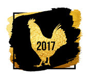 Happy 2017 Chinese New Year card. Vector banner of a golden rooster isolated on black background. Design template for. Happy Chinese new year 2017 with golden royalty free illustration