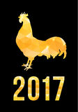 Happy 2017 Chinese New Year card. Vector poster of a golden rooster isolated on black background. Design template for Stock Photo