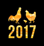 Happy 2017 Chinese New Year card. Vector poster of a golden rooster isolated on black background. Design template for. Happy Chinese new year 2017 with golden stock illustration