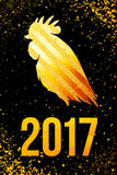 Happy 2017 Chinese New Year card. Vector poster of a golden rooster isolated on black background. Design template for prints, cove Royalty Free Stock Photos