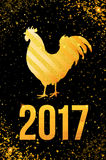 Happy 2017 Chinese New Year card. Vector poster of a golden rooster isolated on black background. Design template for prints, cove Stock Photos