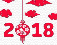 Happy Chinese New Year 2018 Card, Year of Dog, Asian Banner vector illustration