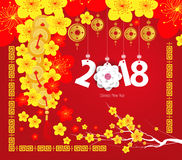 Happy Chinese new year 2018 card, Year of the dog Stock Photo