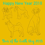 Happy Chinese new year 2018 card year of dog. Vector Stock Images