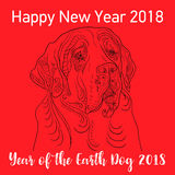 Happy Chinese new year 2018 card year of dog. Vector Royalty Free Stock Photography