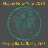 Happy Chinese new year 2018 card year of dog. Vector royalty free illustration