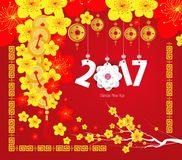 Happy Chinese new year 2017 card, Year of the Rooster Stock Photography