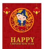 Happy chinese new year, cartoon child boy Stock Photography