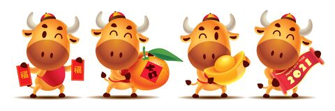 Happy Chinese New Year 2021. Cartoon cute Ox character set holding Red Packet, Tangerine Orange, Gold Ingot and Scroll couplet