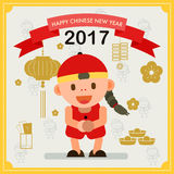 Happy Chinese New Year 2017. Chiness boy greeting for wealth. And happiness. People character vector design illustration EPS10 stock illustration