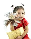 Happy Chinese new year .Cute Asian Girl In Tradition Chinese Royalty Free Stock Images