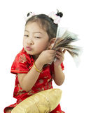 Happy Chinese new year .Cute Asian Girl In Tradition Chinese Stock Photos