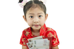 Happy Chinese new year .Cute Asian Girl In Tradition Chinese Royalty Free Stock Photos