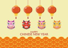 Happy chinese new year with Dancing lions and lanterns. Traditional wave background. Vector illustration Stock Illustration