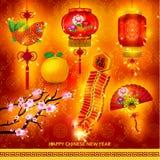 Happy Chinese New Year Decoration Set. Vector Design stock illustration