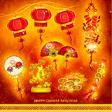 Happy Chinese New Year Decoration Set Royalty Free Stock Photo