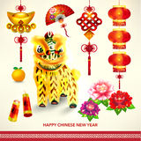 Happy Chinese New Year Decoration Set Royalty Free Stock Image