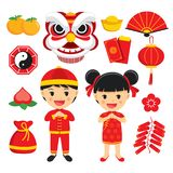 Happy chinese new year decoration traditional symbols set with c. Haracters and icons elements isolated on white background royalty free illustration