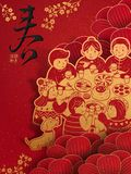 Happy Chinese New Year design. Family reunion dinner with delicious dishes, spring and prosperous words in Chinese calligraphy Royalty Free Stock Images