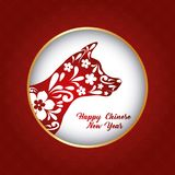 Happy Chinese New Year Design. With flowers in dog shape icon over white circular frame and red background colorful design vector illustration vector illustration
