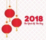 Happy Chinese New Year Design. With ornaments hanging over white background colorful design vector illustration vector illustration