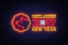 Happy Chinese New Year 2019 design template vector. Chinese New Year of Pig greeting card, Light banner, neon style. Vector illustration royalty free illustration