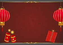 Chinese New Year Day Background with red lantern. Happy Chinese new year is designed in gold frame, firework, firecracker, and red lantern with red background royalty free illustration