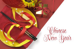 Happy Chinese New Year dining table place setting Royalty Free Stock Photo