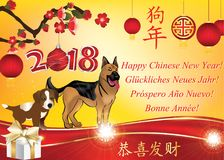 Happy Chinese New Year of the Dog 2018! Multilanguage greeting card with red background an floral pattern. Business Chinese New Year 2018 greeting card with text Royalty Free Stock Image