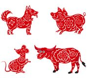 Happy  Chinese New Year  2018, 2019, 2020, 2021 .  with Dog, Pig, Mouse, Buffalo. Happy Chinese New Year 2018 2019 2020 2021 with Dog, Pig, Mouse, Buffalo Stock Images