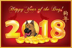 Happy Chinese New Year of the Dog! red greeting card with text in English. Chinese New Year 2018 greeting card with gold ingots and coins on a red background vector illustration