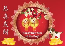 Happy Chinese New Year of the Dog 2018! red greeting card with text in Chinese and English. Chinese New Year 2018 greeting card with gold ingots and coins on a stock illustration