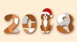 Happy Chinese New Year 2018, Dog in Santa Hat vector illustration