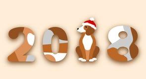 Happy Chinese New Year 2018, Dog in Santa Hat royalty free illustration