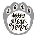 Happy Chinese New Year 2018 dog, text hand drawn lettering. Holiday greetings quote. Great for Christmas and New year cards, poste. Rs, gift tags stock illustration