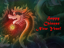 Happy Chinese New Year Dragon. With Ball stock illustration
