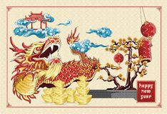 Happy chinese new year dragon dance and flowers new year golden ingots illustration on background asia pattern. Chinese new year dragon dance and flowers new vector illustration