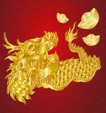 Happy chinese new year with dragon and ingots with line art gold texture illustration. Chinese new year with dragon and ingots with line art gold texture royalty free illustration
