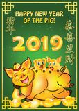 Happy Chinese New Year of the earth Pig 2019 - greeting card with green background;. English and Chinese text used. Text translation: Congratulations and get stock illustration
